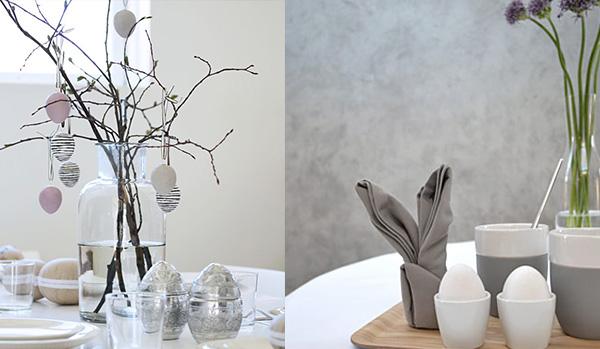 paasdecoratie grijs wit pastel kleuren