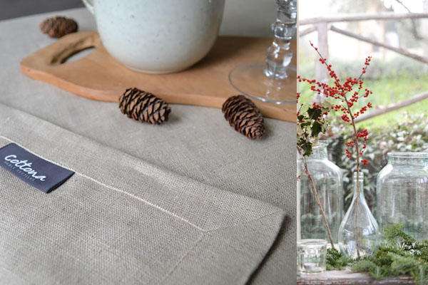 Weihnachtstischdecke aus Naturleinen, Servietten in Tannengrün
