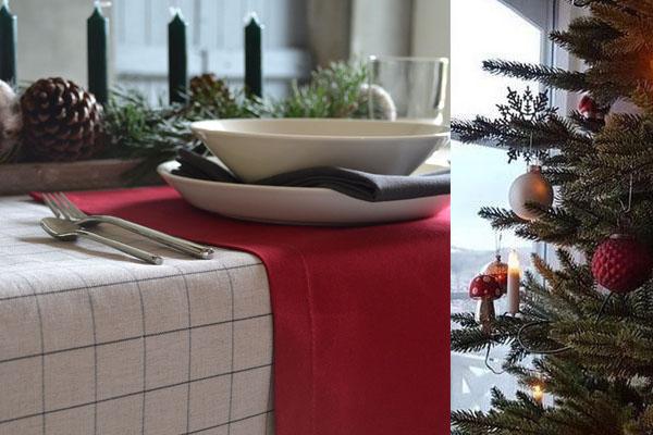 Weihnachtstischdecke in naturfarbenem Leinen mit Karos, Tischsets in Weihnachtsrot