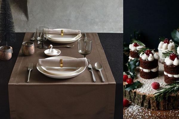 Weihnachtstischdecke in Glamour Onyxschwarz, Tischläufer in Bronze