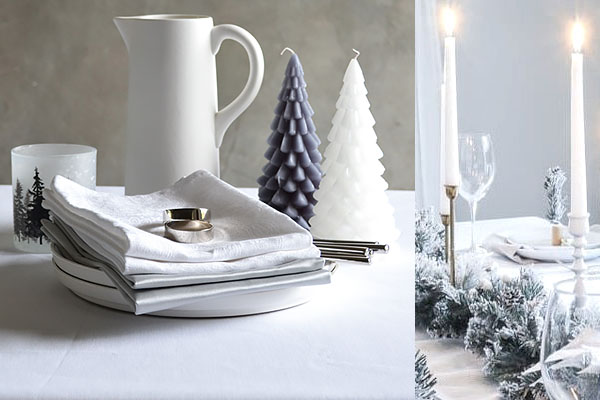 Weihnachtstischdecke Damast in Uni-Weiß, Servietten in Silber