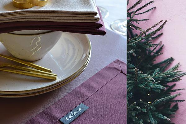 Tischdecke altrosa Leinenkollektion, Tischläufer bordeauxrot, Baumwollkollektion Cottona